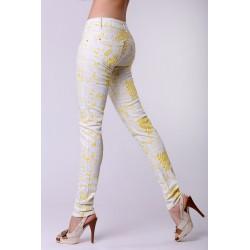 4323-3 Jeansy typu rurki w nowoczesne printy - żółty