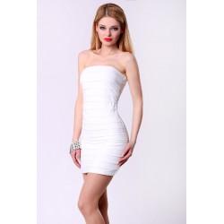 4313-2 Sukienka damska - Kobieco : biała dama