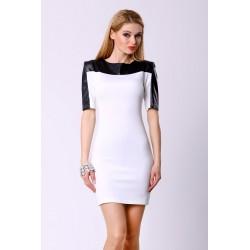 4305-3 Sukienka na krótki rękaw z ekoskóry - biały