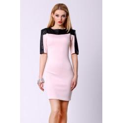 4305-2 Sukienka na krótki rękaw z ekoskóry - różowy