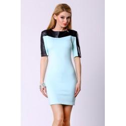 4305-1 Sukienka na krótki rękaw z ekoskóry - błękitny