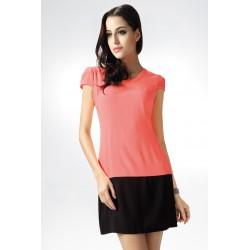 4226-1 Dwukolorowa sukienka na krótki rękaw - arbuzowy