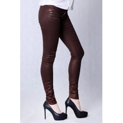 4217-1 Spodnie legginsy ze złotymi drobinkami - miedziany