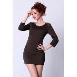 4213-4 Sukienka na długi rękaw z wycięciem na plecach - khaki