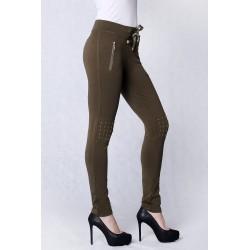 4211-4 Spodnie materiałowe, legginsy z dżetami - khaki