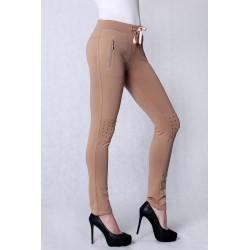4211-3 Spodnie materiałowe, legginsy z dżetami - kremowy