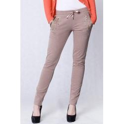 4210-3 Spodnie dresowe, legginsy z ozdobnymi kieszeniami - brązowy