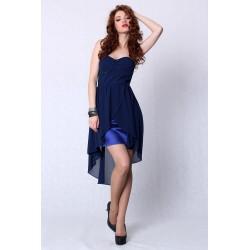4207-3 Sukienka bez ramiączek z usztywnianymi miseczkami z dłuższym tyłem - niebieski