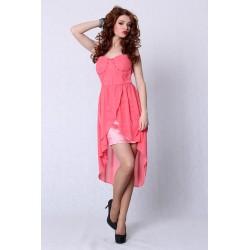 4207-2 Sukienka bez ramiączek z usztywnianymi miseczkami z dłuższym tyłem - arbuzowy