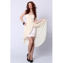 4207-1 Sukienka bez ramiączek z usztywnianymi miseczkami z dłuższym tyłem - kremowy