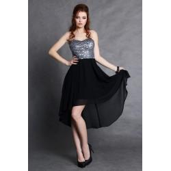 4105-3 Sukienka z miseczkami z cekinów z dłuższym tyłem - czarny