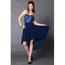 4105-1 Sukienka z miseczkami z cekinów z dłuższym tyłem - granatowy