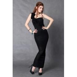 4104-2 Długa sukienka zakładana na jedno ramię ze świecącego materiału - czarny