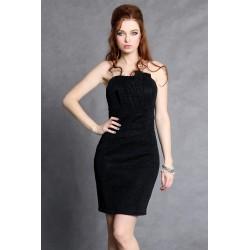 4102-3 Sukienka ze świecącego kreszu z zakładkami na biuście z podszewką - czarny
