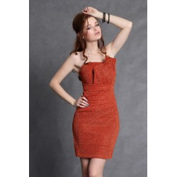4102-2 Sukienka ze świecącego kreszu z zakładkami na biuście z podszewką - pomarańczowy