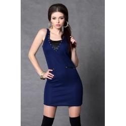 4011-1 Sukienka na ramiączkach z dżetami - granatowy