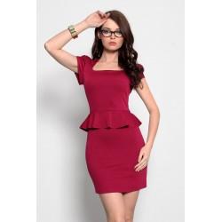 3919-3 Sukienka na krótki rękaw, baskinka - rubin