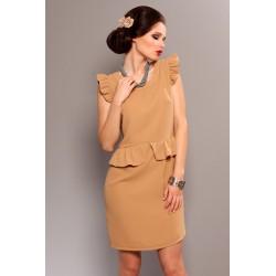 3707-1 Sukienka na krótki rękaw typ baskinka - brąz