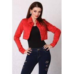 3616-3 Jeansowa kurteczka na guziki, krótka - czerwony