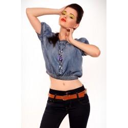 3613-1 Jeansowa bluzeczka na krótki rękaw + naszyjnik - niebieski