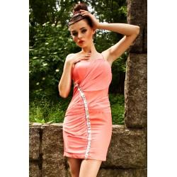 2505-5 Sukienka na ramiączkach z delikatnym tiulem, pas srebrnych kamieni wzdłuż - arbuzowy