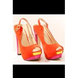 3419-3 Zamszowe buty na wysokim obcasie, z platformą - pomarańczowy