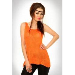 3322-2 Wełniana bluzeczka na ramiączkach z przedłużonym tyłem - pomarańczowy