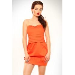 3220-1 Sukienka zakładana na piersi, typ bombka - pomarańczowy