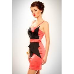 3202-2 Szyfonowa sukienka z usztywnianymi miseczkami - malina