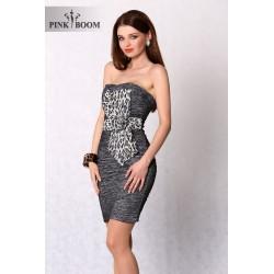 3102-3 Marszczona sukienka z motywem panterki - srebrny