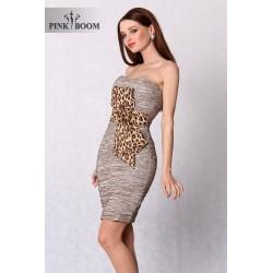 3102-1 Marszczona sukienka z motywem panterki - brąz